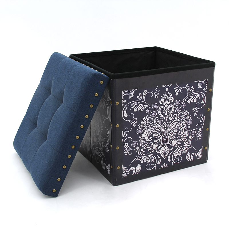 Modern living room furniture PVC printing folding leather stool sofa storage  ottoman