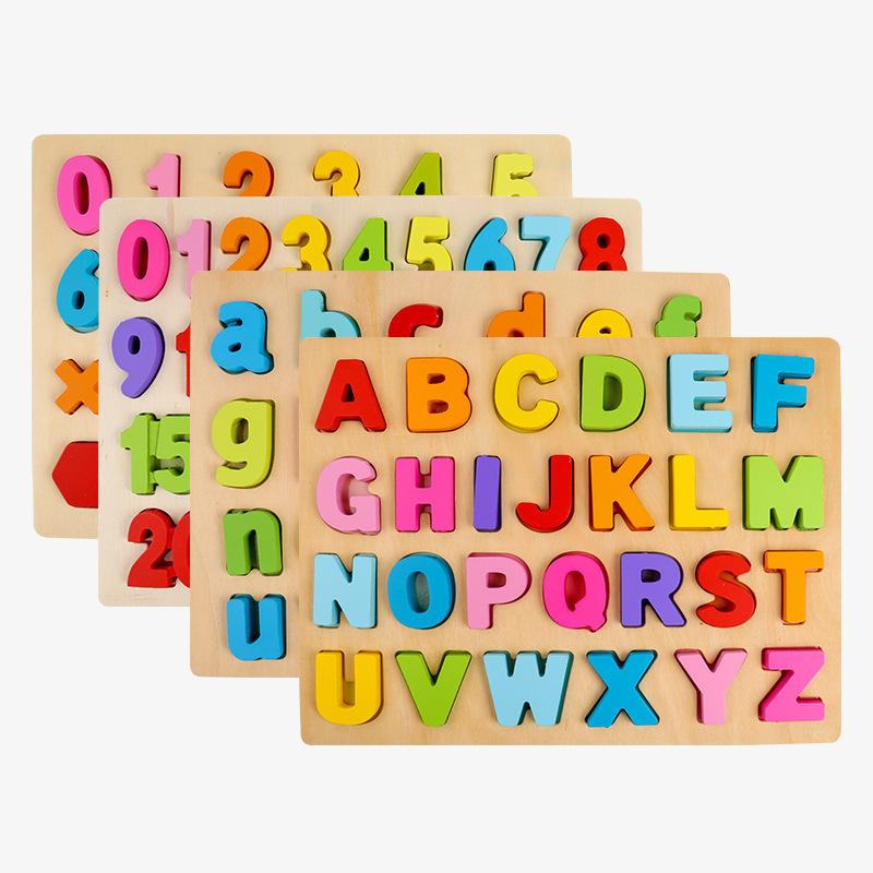 2020 ZheJiangไม้การเรียนรู้Montessori Letterของเล่นเพื่อการศึกษาตัวอักษรกระดานปริศนาเด็กวัยหัดเดินWPT23-B