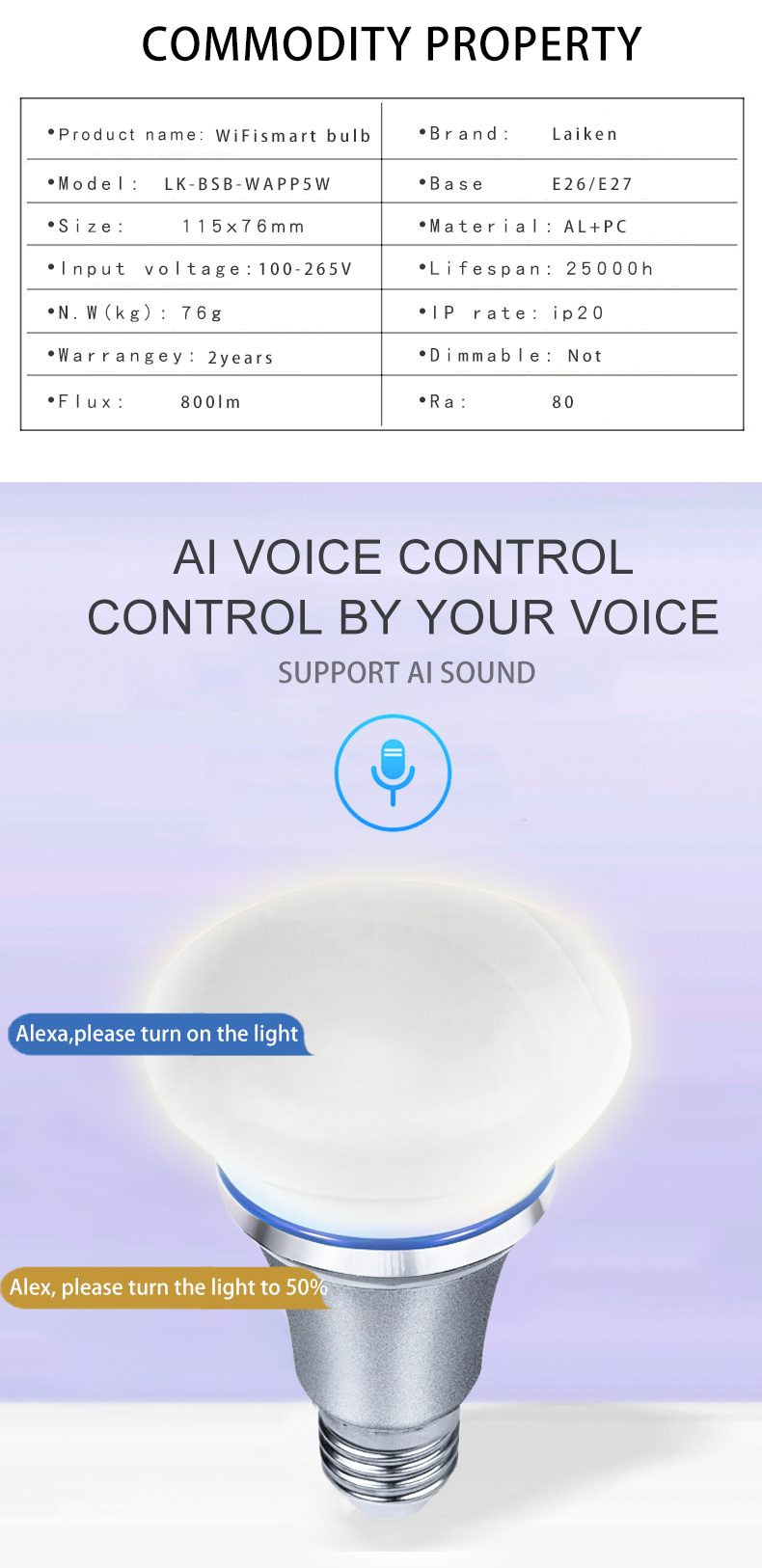 E27 APP Kontrol RGB Multi Warna Berubah Wifi Smart Bohlam LED dengan Google Home dan Amazon Alexa
