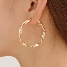 Женские серьги-кольца с жемчугом, простые металлические круглые серьги большого размера в Корейском стиле(Китай)