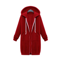 Europe And The United States Autumn And Winter Women Large Size Loose Hooded Long Coat