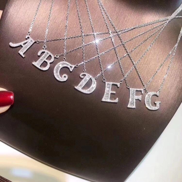 Ruigang trendy 925 Sterling lettera iniziale del pendente per le donne di cristallo zicon A alla Z catena d'argento di Alfabeto dei monili della collana