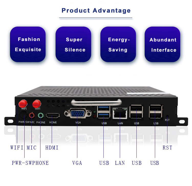 Hot sale S-BLUE 989-OPS Embedded Industrial MINI PC Intel HM76 mini desktop pc for Educational
