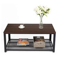 VASAGLE Wholesale Furniture Imports Easy Assembly Dark Walnut Wood Cocktail Coffee Table Living Room Tea Table