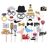 31 pcs Photo Booth Props for New Fashion Wedding and Valentine's Day,Love Bird,Mr Mrs,Crown and other Decorations Accessories