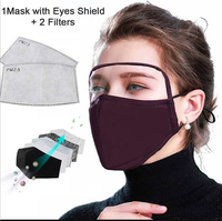 Anti-fog washable cotton face mask with eye shield PM2.5 filters protective fabric face shield