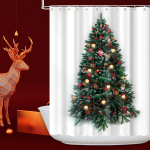 Waterproof polyester Christmas tree bathroom LED thick shower curtain fabric