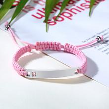 Персонализированный плетеный браслет Vnox ручной работы для пар, браслет из нержавеющей стали с фианитами класса ААА, подарок на день рождени...(Китай)