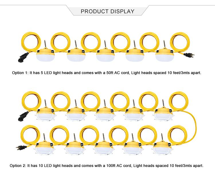 新スタイル Led ストリングライト 50F 100Ft Led 一時的な建設適切な野外活動用照明