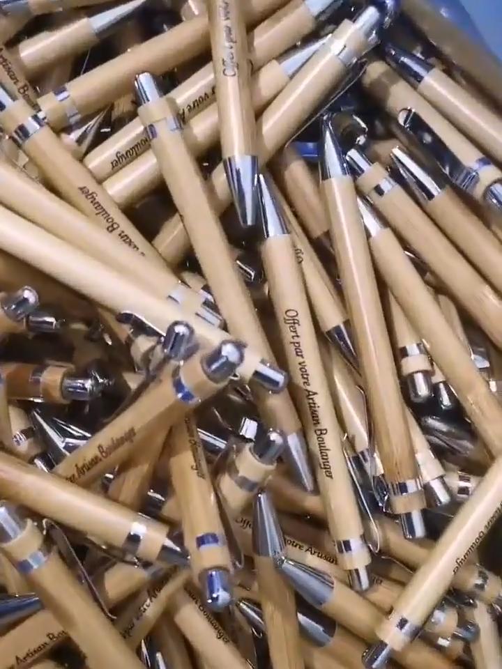 Wholesale Stylus Engraved Logo Bamboo Pen Ballpoint Parker Pen Refill Silver
