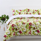 One-Stop Service [ Flower Cover Set ] Printed Duvet Covers Bed Sets Luxury 100% Polyester Flower Soft Queen Size Bed Sheet Bright Color Duvet Cover Set