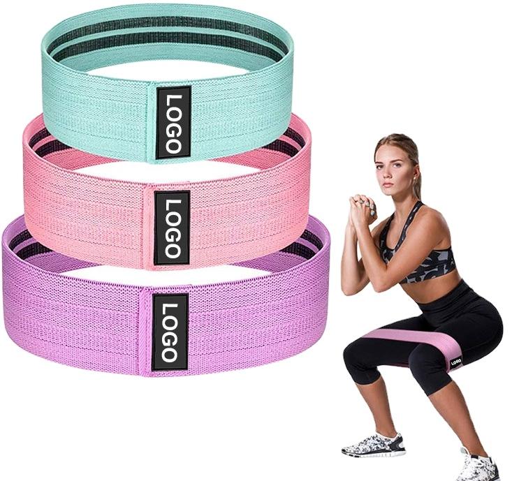 2020 nuevo diseño de logotipo conjunto de 3 de ejercicio de estiramiento de la cadera Círculo tela impresa botín banda gimnasio glúteos de banda de resistencia
