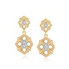 Sterling silver dangle drop CZ diamond two tone 9k gold flowers earrings