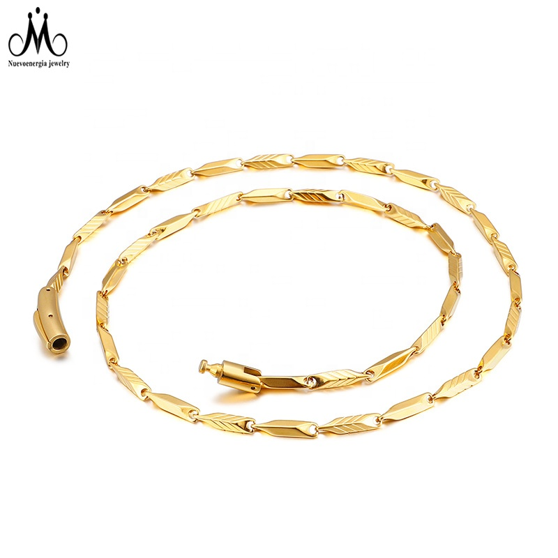 Luxury 18K Gold Plated Men Chain Necklace Stainless Steel Accessories Jewelry