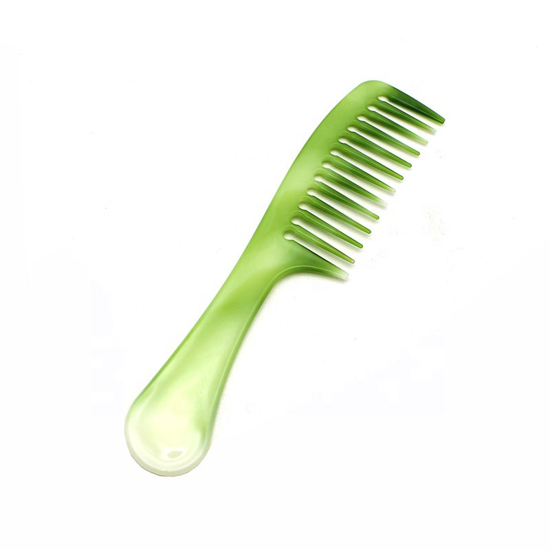 Hot sale custom logo wide tooth compact jade <strong>plastic</strong> hair <strong>comb</strong>