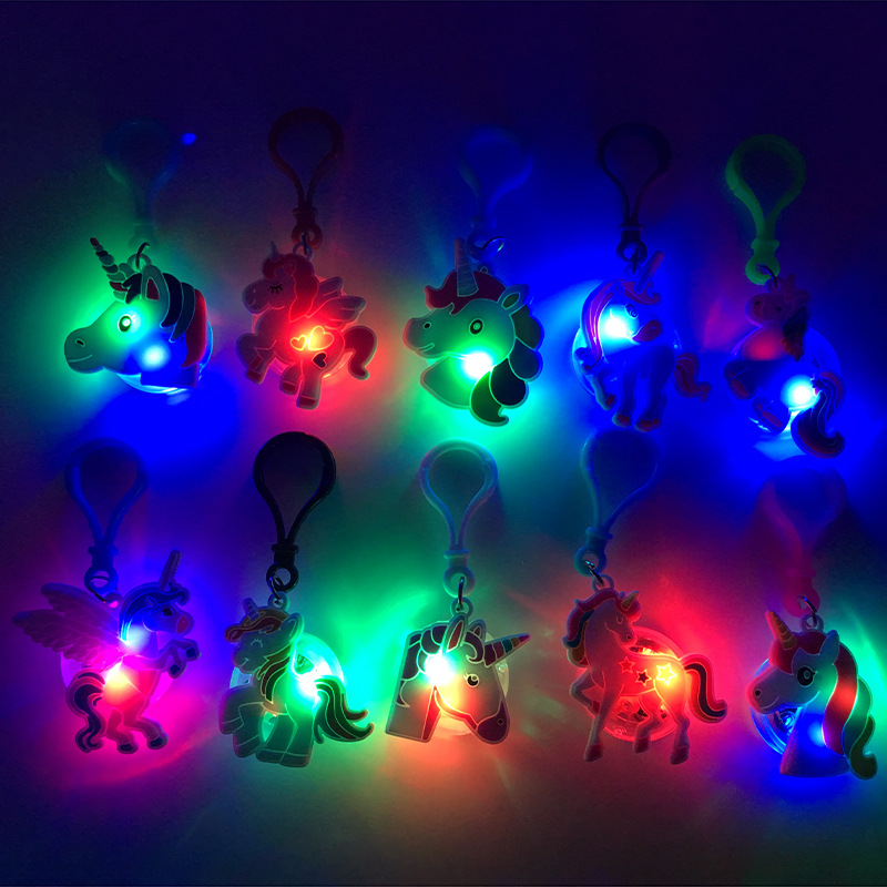 2019 New Christmas <strong>Gifts</strong> 2D Soft PVC <strong>Cute</strong> Unicorn Keychain with Lighting