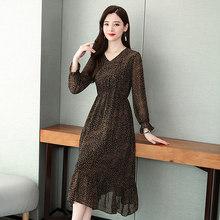 2020 винтажные женские шифоновые миди платья весна лето 4XL размера плюс с принтом с длинным рукавом элегантные женские облегающие вечерние пл...(Китай)