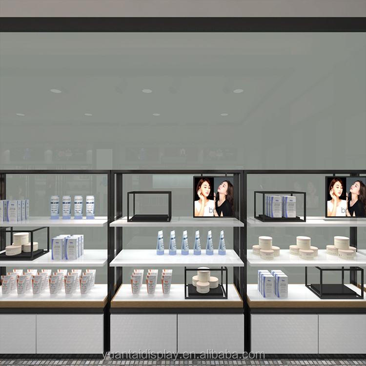 Skincare shop interior furniture display cabinet and showcase with metal frame decoration