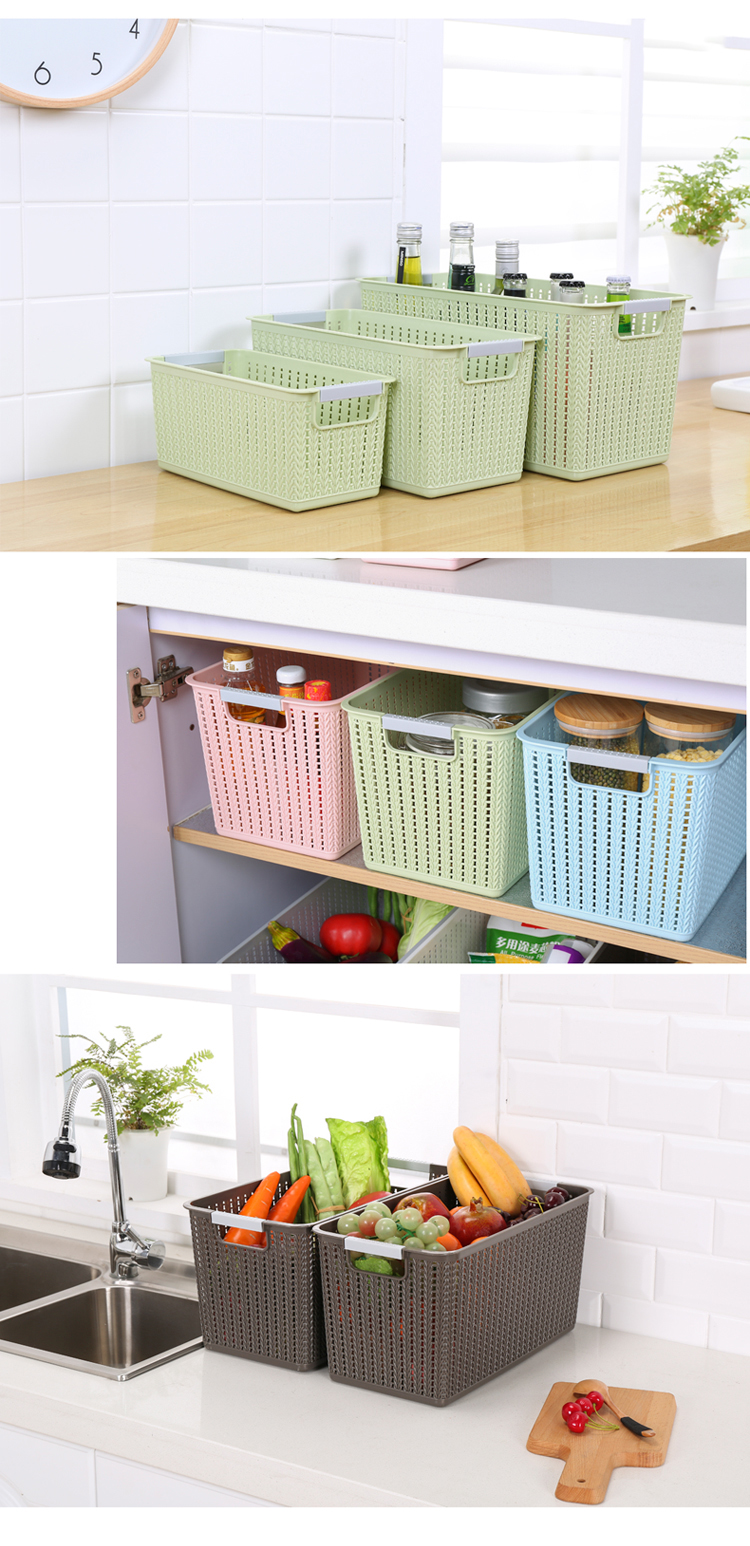간단한 디자인 다목적 플라스틱 보관함 식품 바구니 뚜껑없이 큐브 보관함
