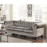 Manufactory European Classic Velvet Fabric Corner Sofa Set for Living Room