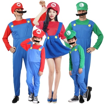 2019 Adults and Kids Mario Bros Cosplay Dance Costume Set Children Halloween Party MARIO Costume for Kids Gifts