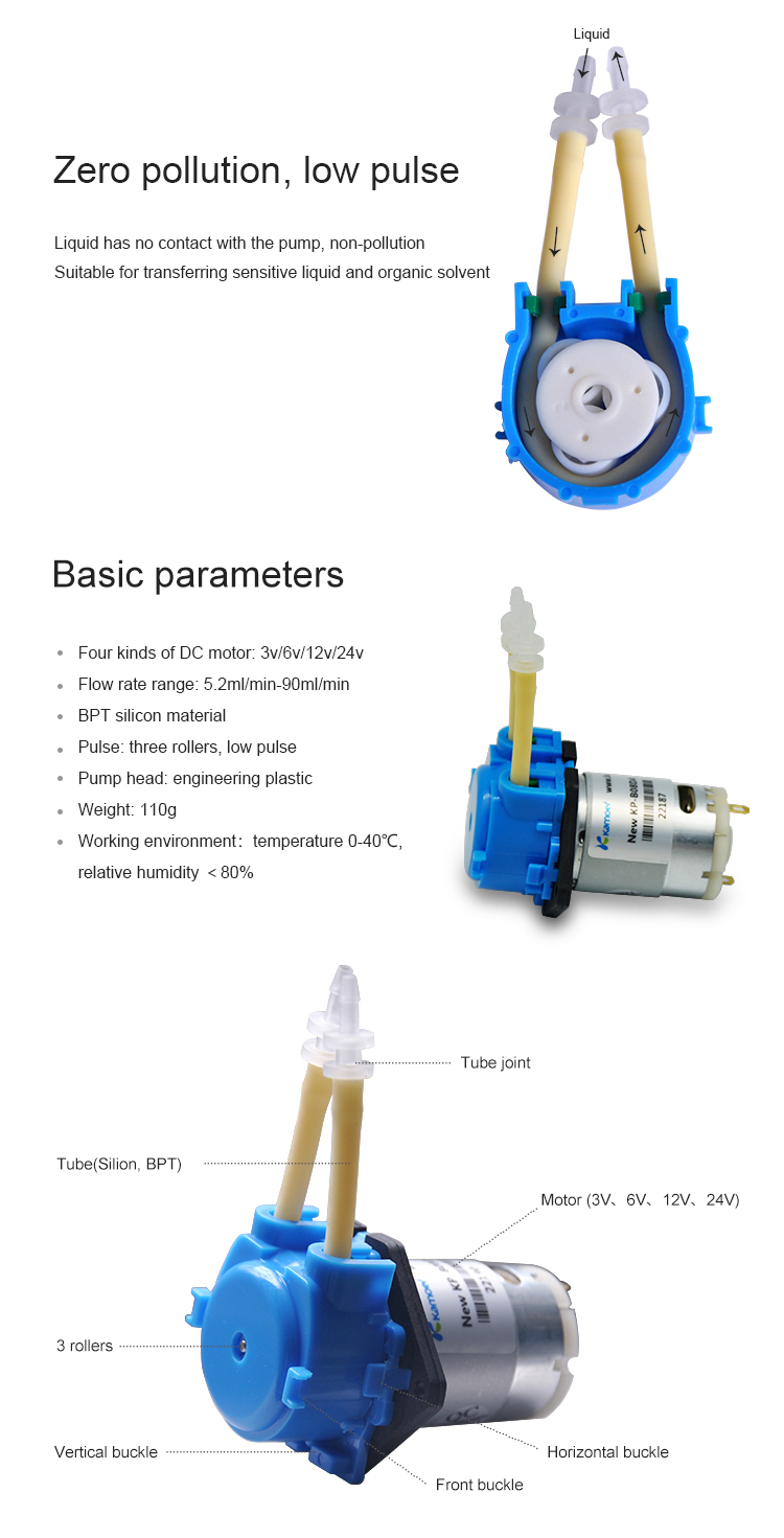 Kamoer 12V 24V DC Water Pump Mini NKP Peristaltic Pump With BPT Tube and Silicone Tube