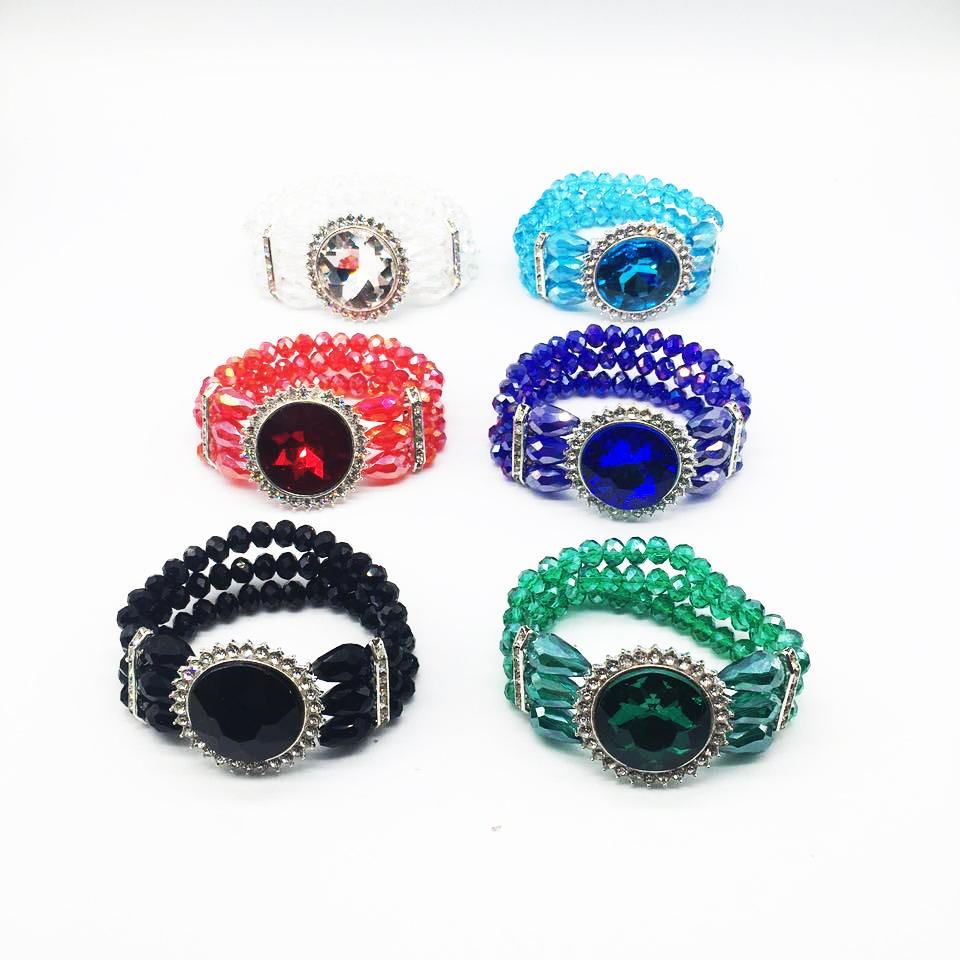 Hot sale inlay rhinestone cut surface glass stone bracelets elastic multi-layers crystal bracelet jewelry wholesale
