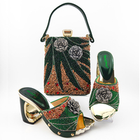 italian woman dress shoe designer bag and shoes sets crystal bags ladies ODM in deep green