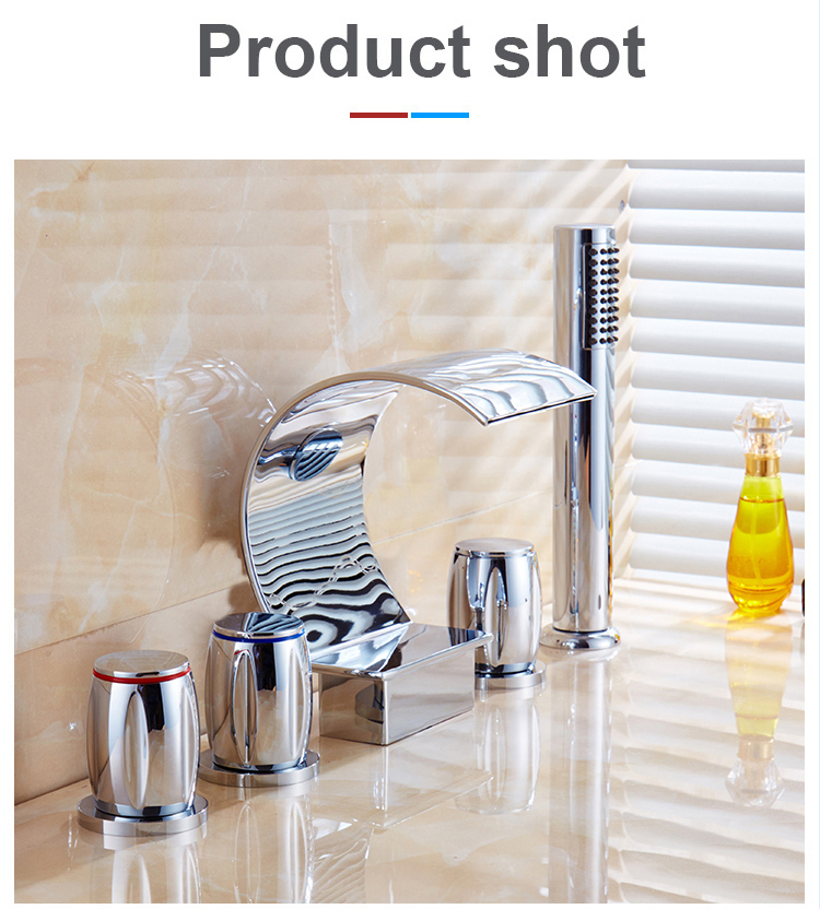 Led Waterfall Widespread Bathroom Sink Faucet 3 Handles 4 Holes Chrome Finish commercial faucets