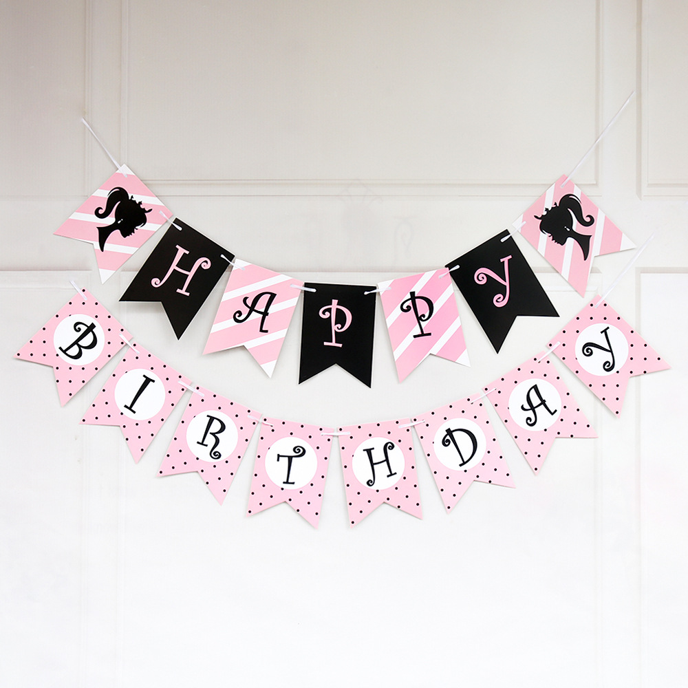 kids Paper Happy Birthday Banner Party Decorations Kids Garland Children Baby Boy Girl Child Bunting Adult Favors Supplies