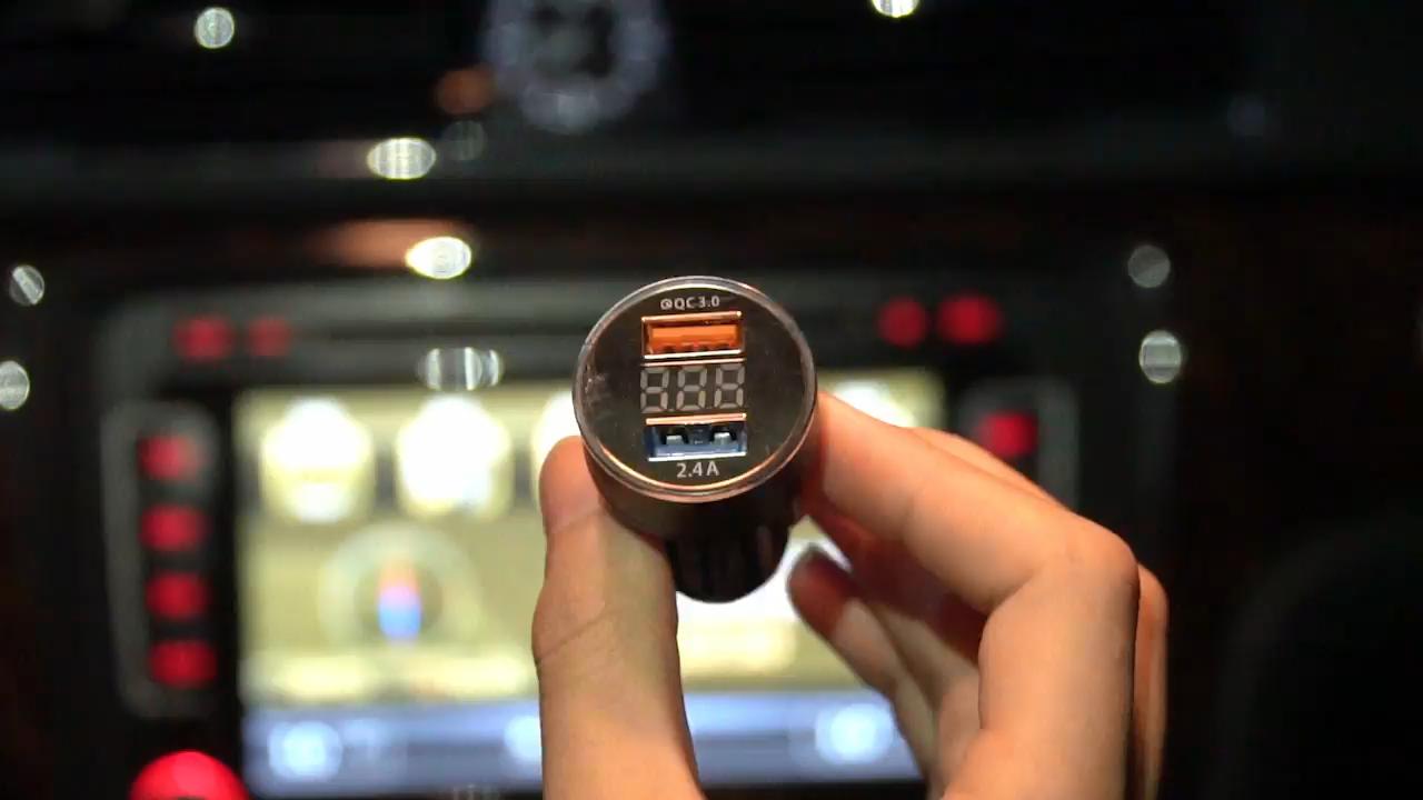 USLION 좋은 품질 듀얼 USB 포트 빠른 충전 QC 3.0 금속 디지털 LED 디스플레이 자동차 전화 충전기