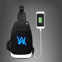 male Korean version tide casual sports outdoor Messenger shoulder bag luminous small backpack junior high school chest bag
