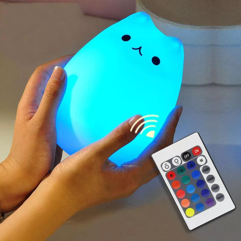7 colors babycare bedroom USB silicone Night Light with hign cat shape