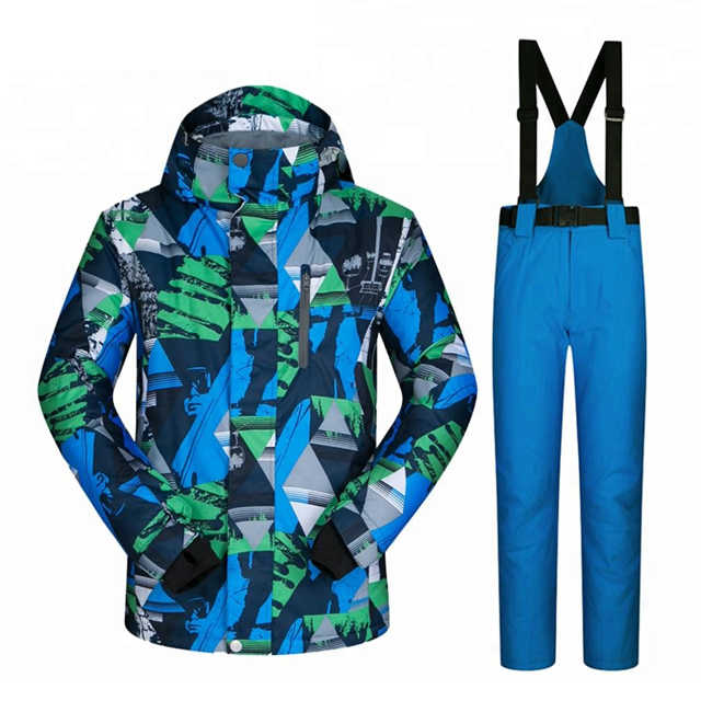 Customized Mens Ski Outfits Colorful Printed Warm Skiing Snowboarding Jacket And Pants Set