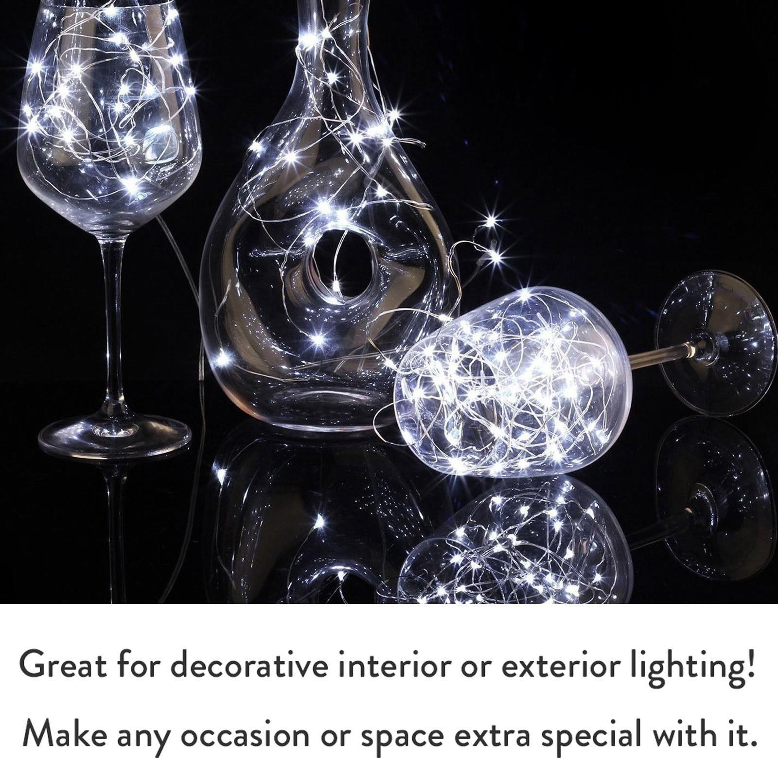 Пробка в форме бутылки вина LED серебро медь Wre свет шнура 1 м 10 светодиодов LR44 батарея питание для стекла ремесло Рождество украшения партии