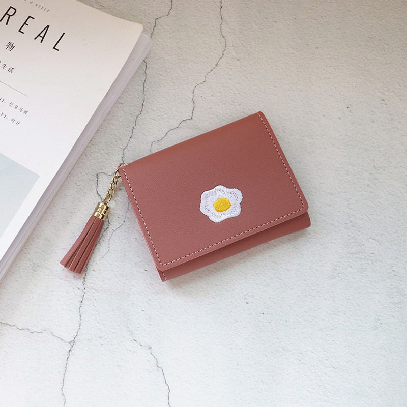 product-2020 1 Pc Women Cartoon Short Wallet Leather Fried Egg Cute Wallets Purse Card Holder Lady F-2