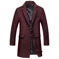 Winter Trench Coat Men Brand New Men 'S Long Wool Trench Coat Single Breasted Pea Coat Windbreaker Overcoat