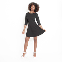 Italy brand 2020 new arrival ladies simple fashion dress black one piece minimalist dresses