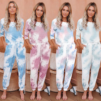 2020 Fashionable O-neck Long Sleeve Nightwear Womens 2 Set Tie Dye Pajamas Casual Home Wear Set Loungewear