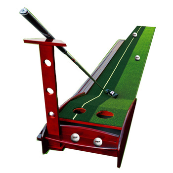 Solid Wooden indoor Mini practice golf putting Mat with Two hole with Ball Auto Return
