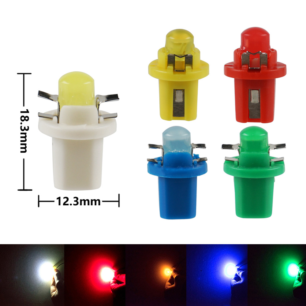 10PCS T5 B8.5D 5050 SMD Yellow Auto Instrument Dashboard Light Bulbs For Tiburon 1997-2008 Accent 2007-2015