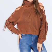 women long sleeve oversize knit sweater crop top design for women