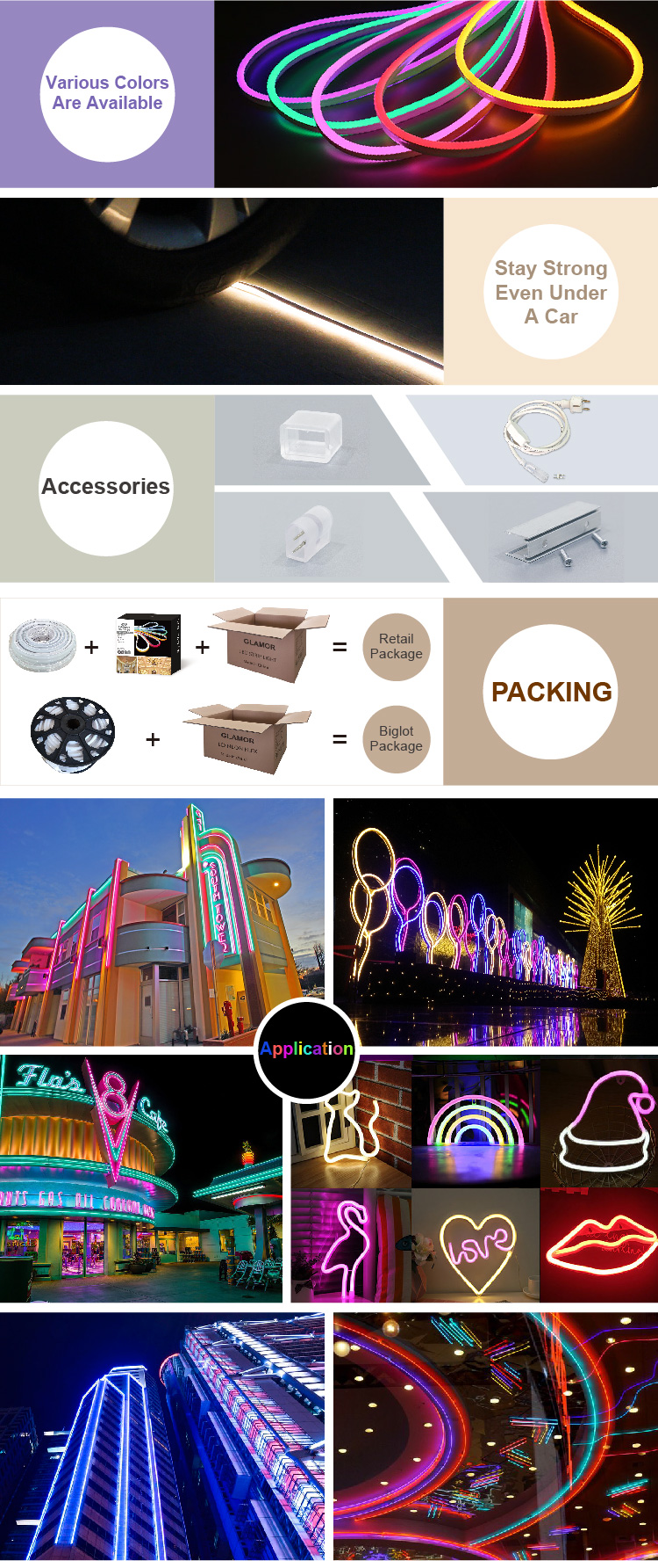 Cuttable LED Neon Flex 12V Low Voltage Neon Strip light SMD2835 Neon LED Light with IP65 Waterproof 5M to 50M