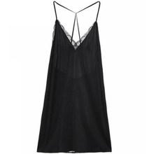 Шелковая сексуальная ночная рубашка из натуральной кожи без рукавов, летняя Черная кружевная ночная рубашка с v-образным вырезом, ночная ру...(Китай)