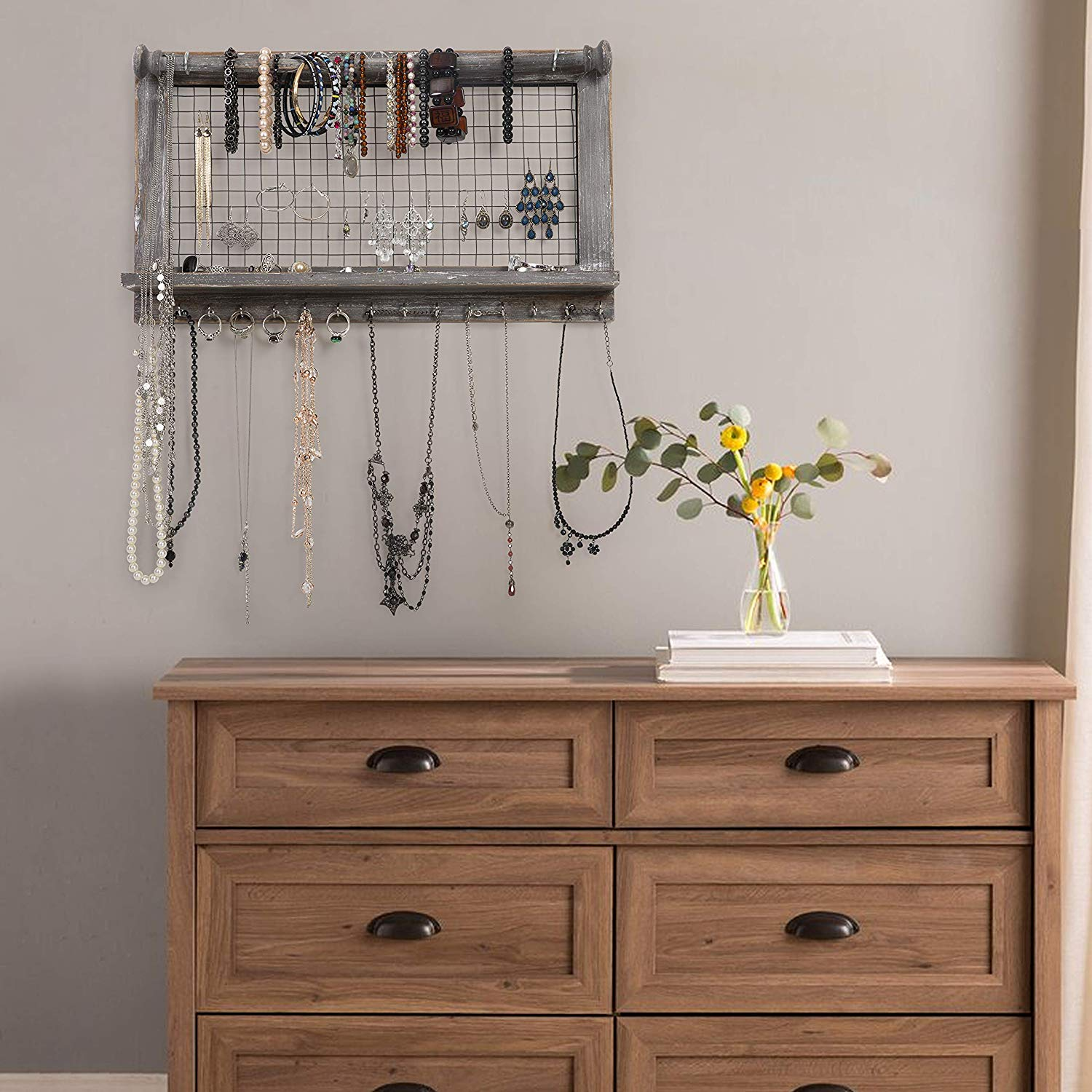 Rustic Jewelry Organizer with Bracelet Rod Wall Mounted l ...