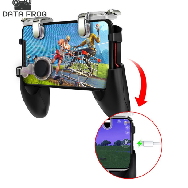 Data Frog PUBG Mobile Game for Fort/nite Controller Gaming Joystick Trigger Fire Button Aim Key Shooter GamePad Handle Stand