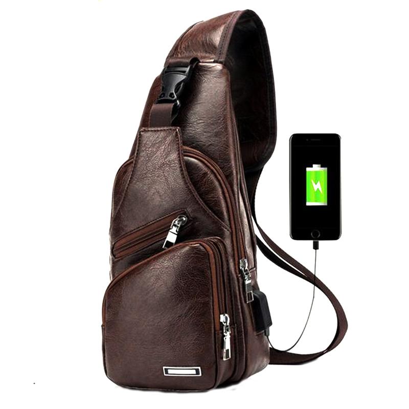 Сумка через плечо с защитой от кражи, с USB, из искусственной кожи, мужская сумка через плечо, походная нагрудная сумка, Повседневная сумка, ко...(Китай)