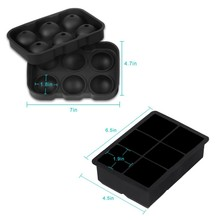 Ice maker bal vorm whisky zwarte custom mini silicone ice cube tray met deksel