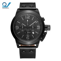 PVD customized colors chronograph wrist watches with bezel screwed crown Stainless Steel watches