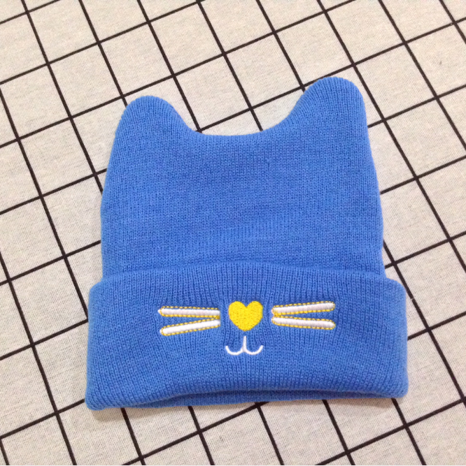 Warm Winter Hats for 0~2 Years Newborn Baby Beanies with Embroidery Cat
